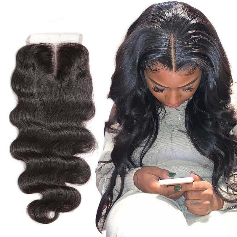 Natural Baby Hair 4X4 Lace Top Closure Hair Extensions 18 Inch OEM