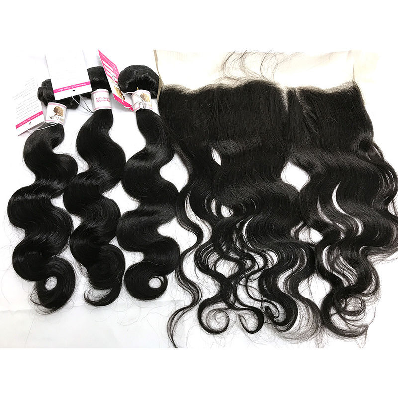 No Shedding 100% Brazilian Virgin Hair Body Wave With 13x4 Frontal
