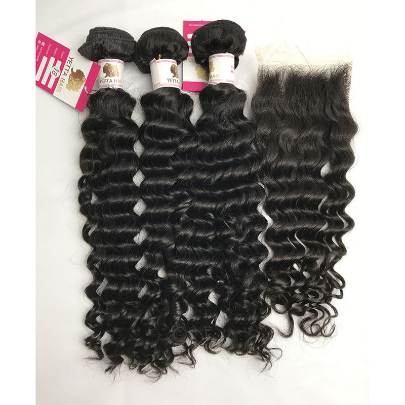 SGS 100% Brazilian Virgin Hair Remy Human Deep Wave Hair Bundles With Closure